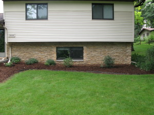 Cottage Grove WI Landscaping Remodel - Pavers, barriers, plants, firepit, inground firepit, mulch, rock, retaining wall, extend pool patio, pavers